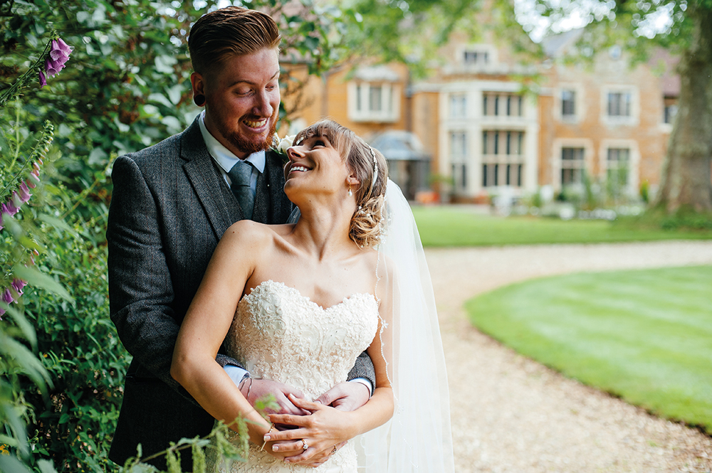 Wedding Couple in Garden at Highgate House Hotel Creaton