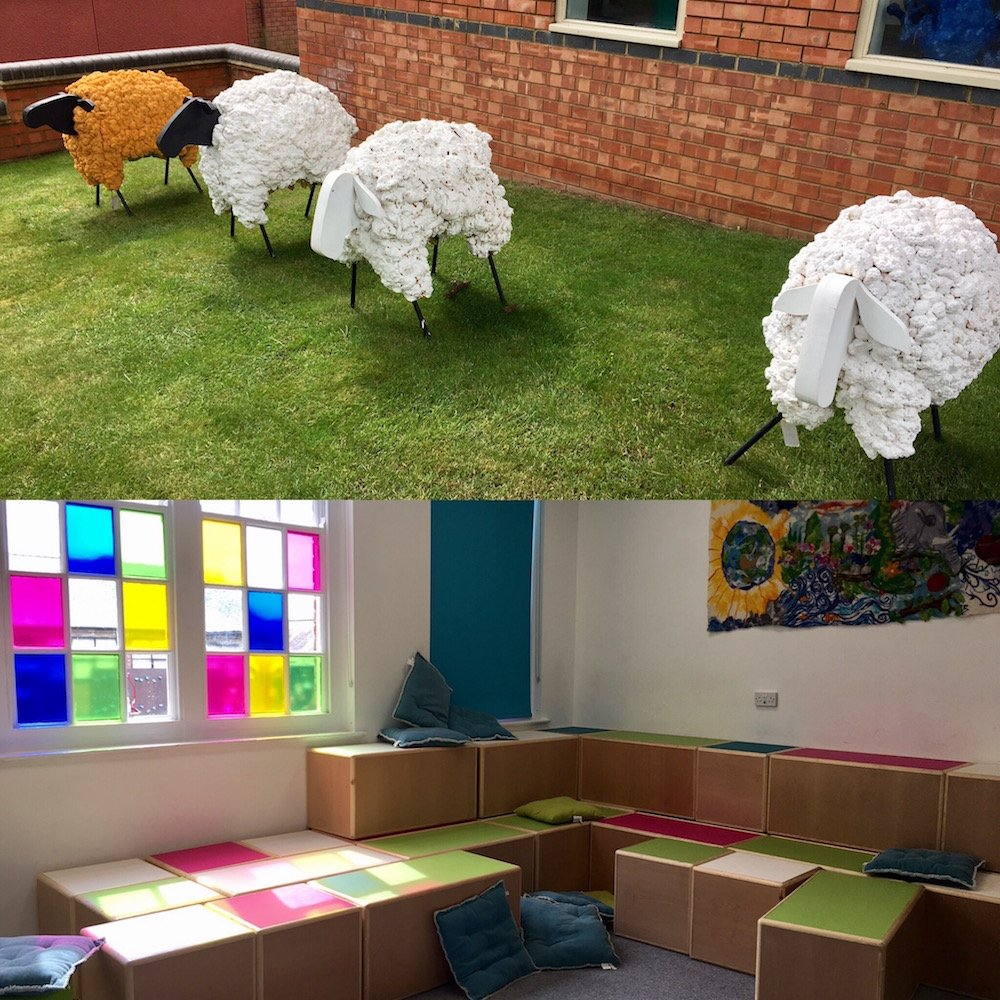 Outside art display featuring sheep at Wellingborough Scool