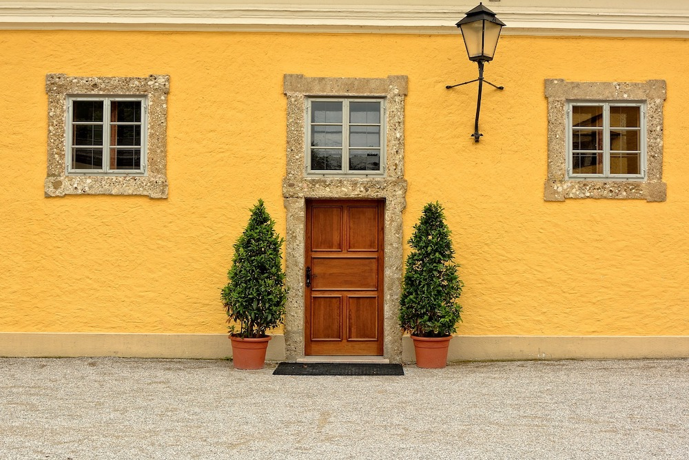 Yellow painted exterior to house