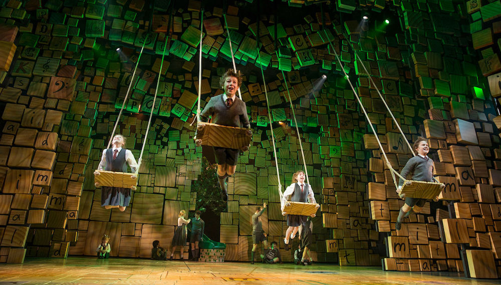 Matilda the musical kids on swings