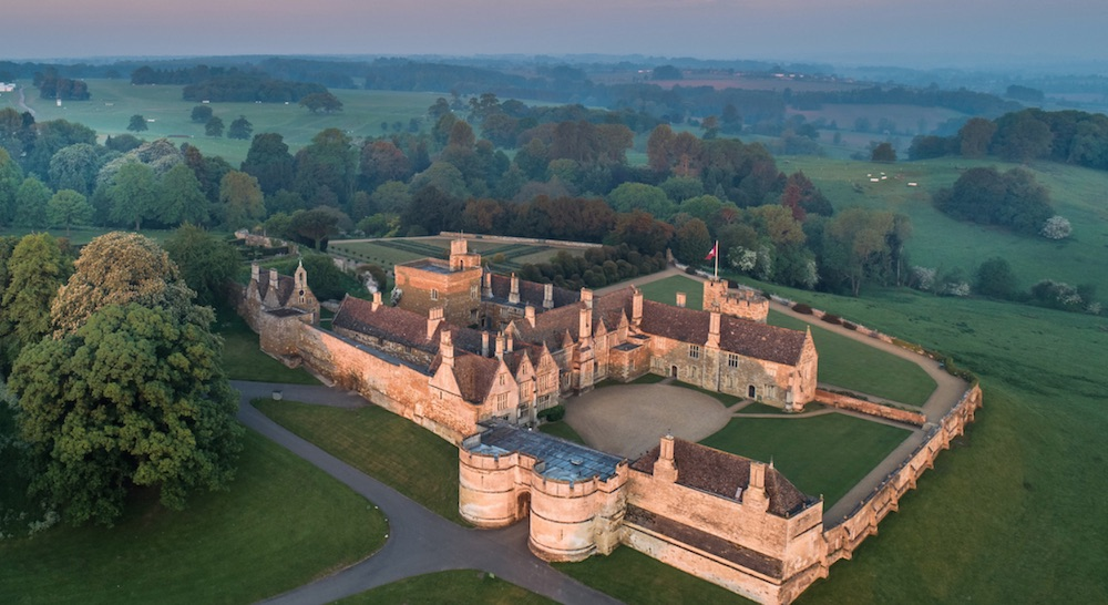 Rockingham Castle aerial view