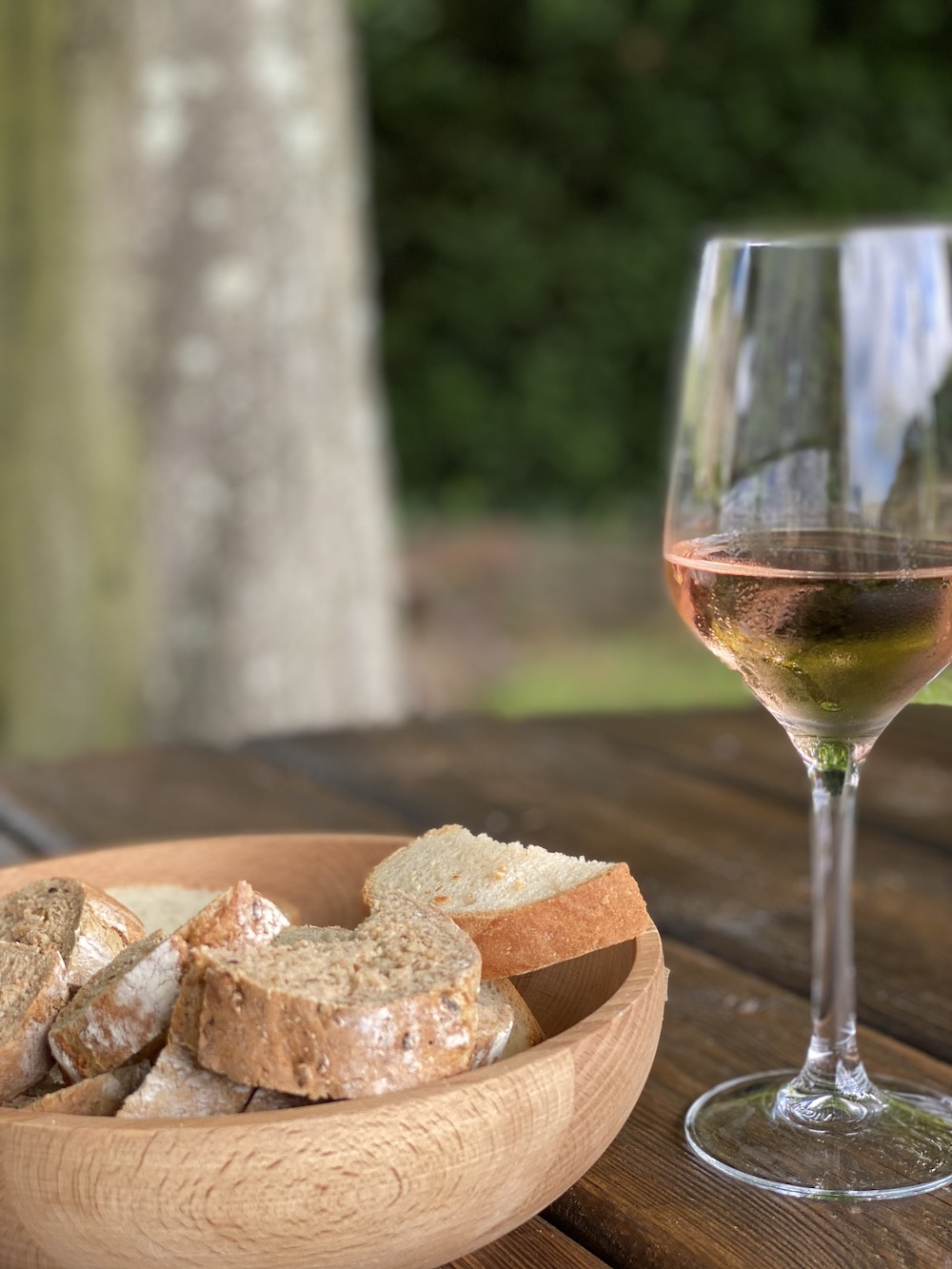Rose wine and homemade bread at the falcon inn fotheringhay