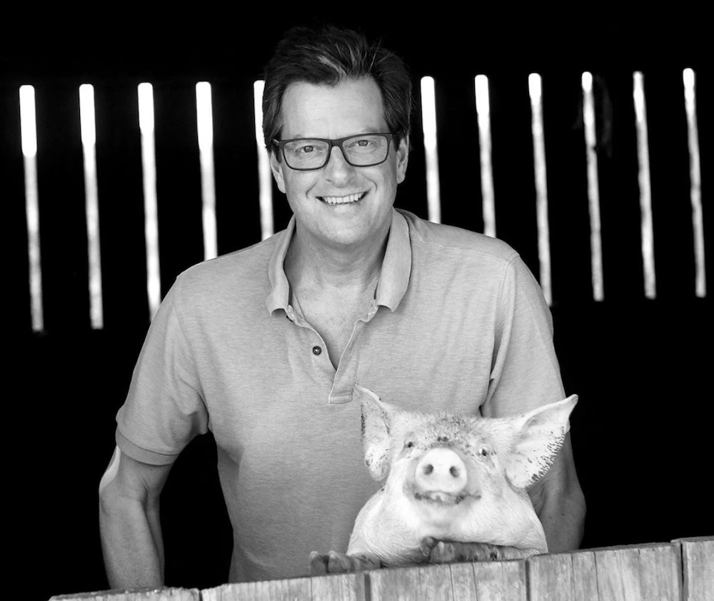 William with Warwick the pig